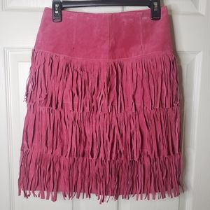 Metrostyle 100% leather fringe pink skirt size 4